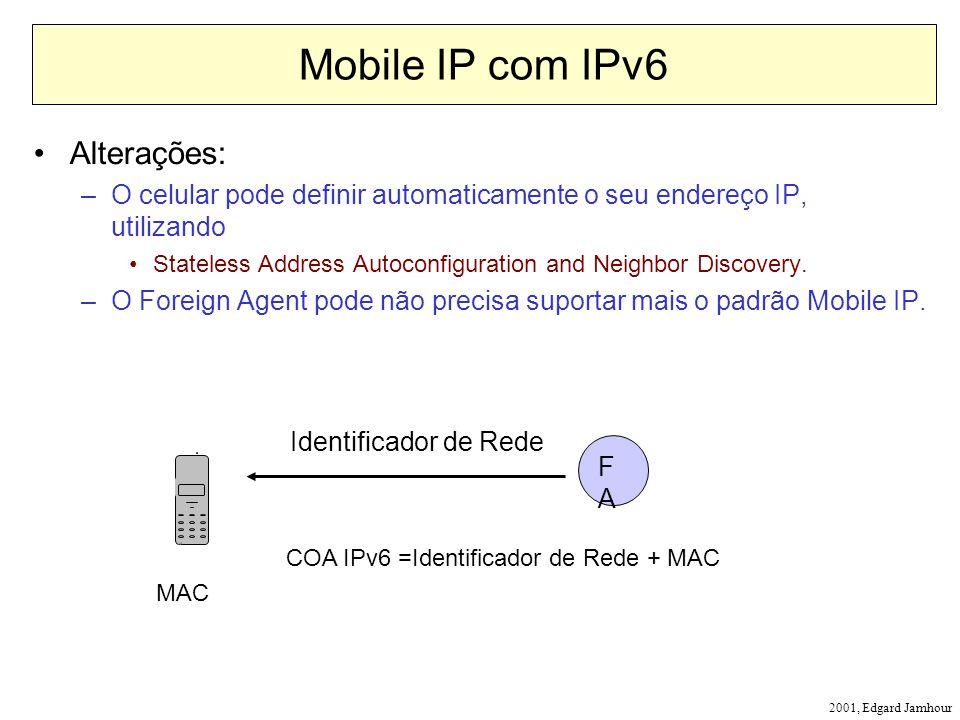 2001, Edgard Jamhour Mobile IP com IPv6 Alterações: –O celular pode definir automaticamente o seu endereço IP, utilizando Stateless Address Autoconfig