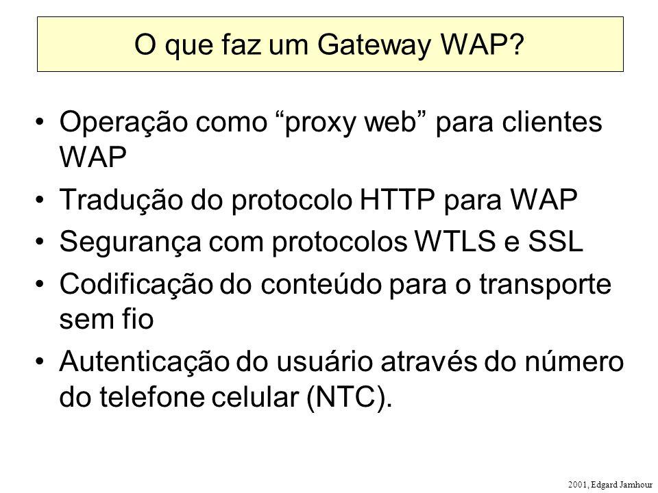 2001, Edgard Jamhour O que faz um Gateway WAP? Operação como proxy web para clientes WAP Tradução do protocolo HTTP para WAP Segurança com protocolos