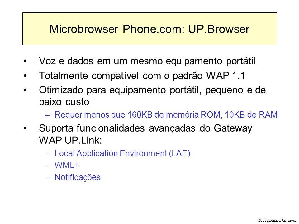2001, Edgard Jamhour Microbrowser Phone.com: UP.Browser Voz e dados em um mesmo equipamento portátil Totalmente compatível com o padrão WAP 1.1 Otimiz