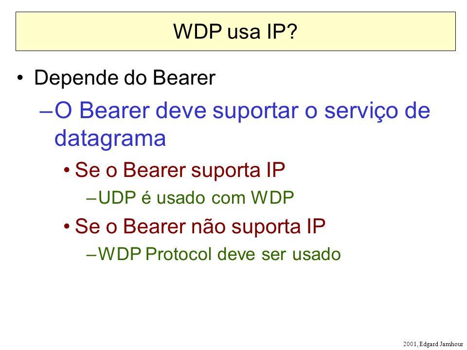 2001, Edgard Jamhour WDP usa IP? Depende do Bearer –O Bearer deve suportar o serviço de datagrama Se o Bearer suporta IP –UDP é usado com WDP Se o Bea