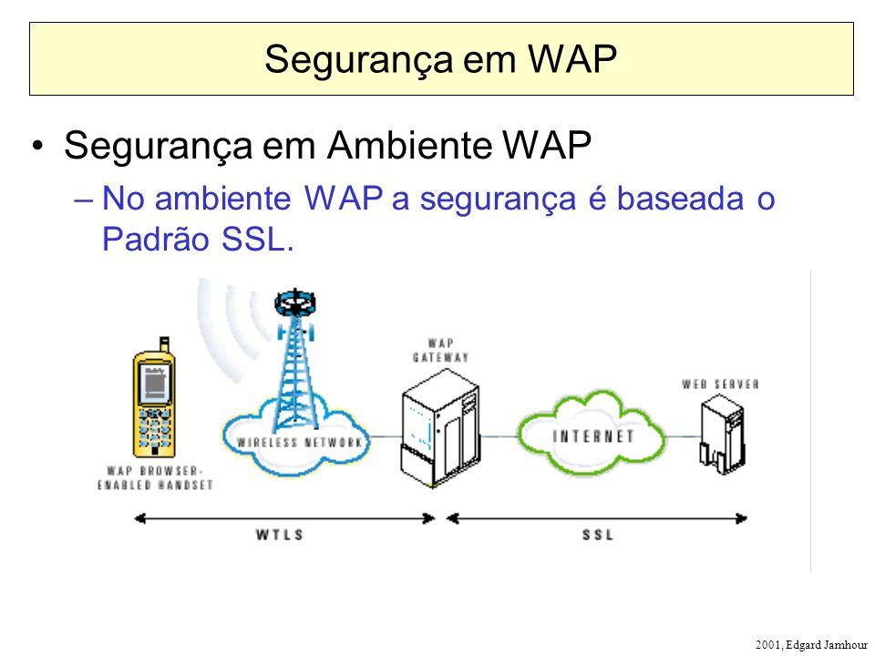 2001, Edgard Jamhour Segurança em WAP Segurança em Ambiente WAP –No ambiente WAP a segurança é baseada o Padrão SSL.