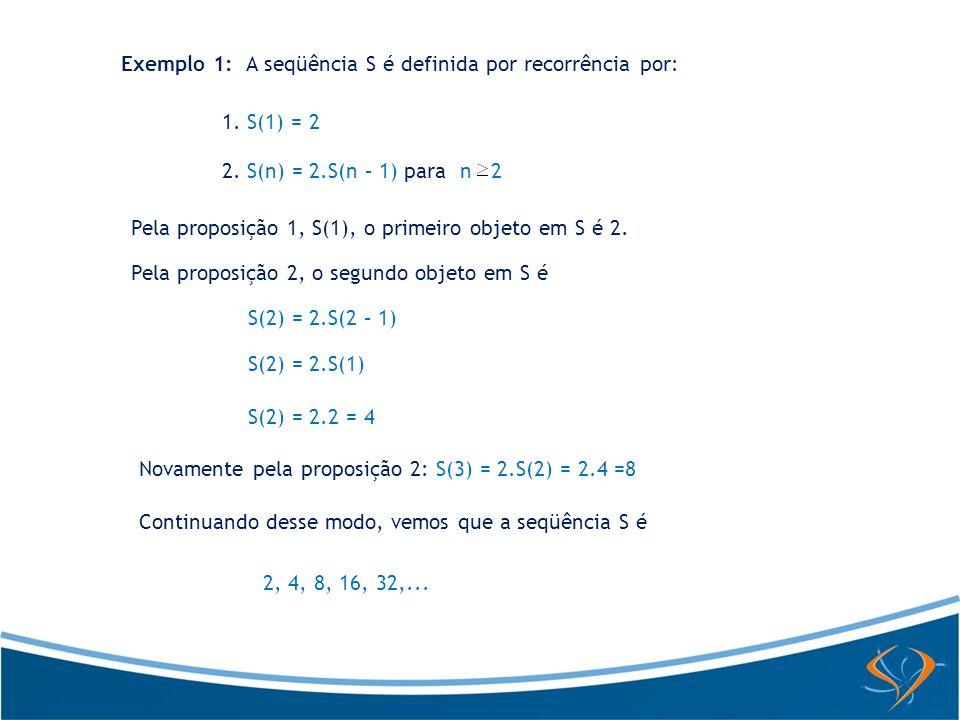 Exemplo 2: A famosa seqüência de Fibonacci é definida por recorrência por F(1) = 1 F(2) = 1 F(n) = F(n – 2) + F(n – 1), para n > 2 Aqui são dados os dois primeiros valores da seqüência e a relação de recorrência define o n-ésimo valor em termos dos dois valores precedentes.
