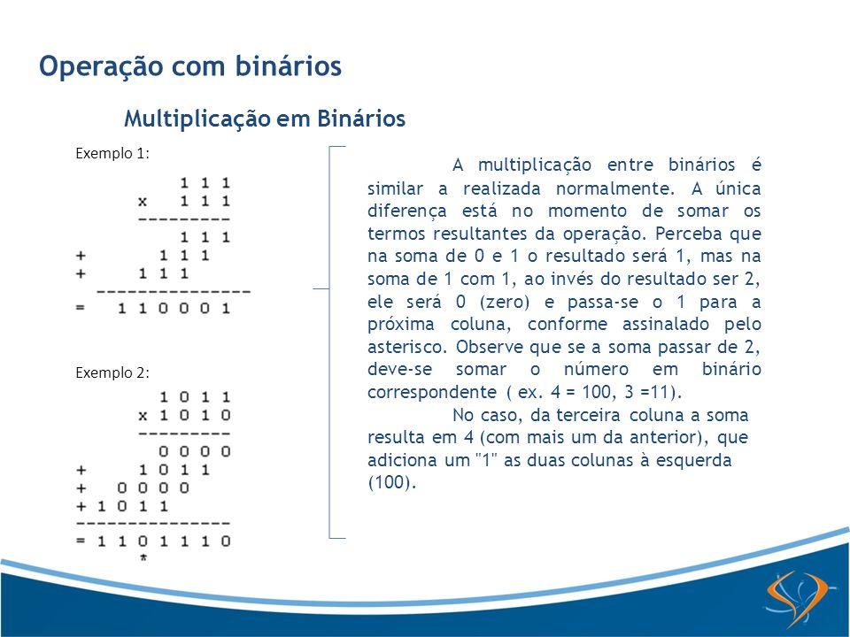 Operação com binários Multiplicação em Binários A multiplicação entre binários é similar a realizada normalmente. A única diferença está no momento de
