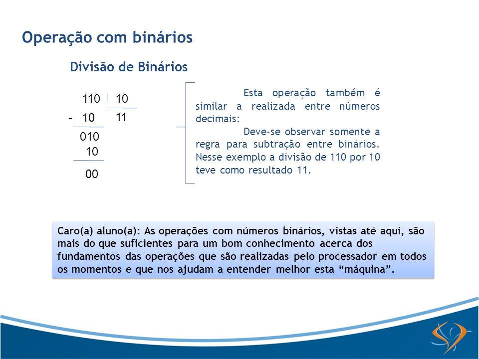 Operação com binários Divisão de Binários Esta operação também é similar a realizada entre números decimais: Deve-se observar somente a regra para sub