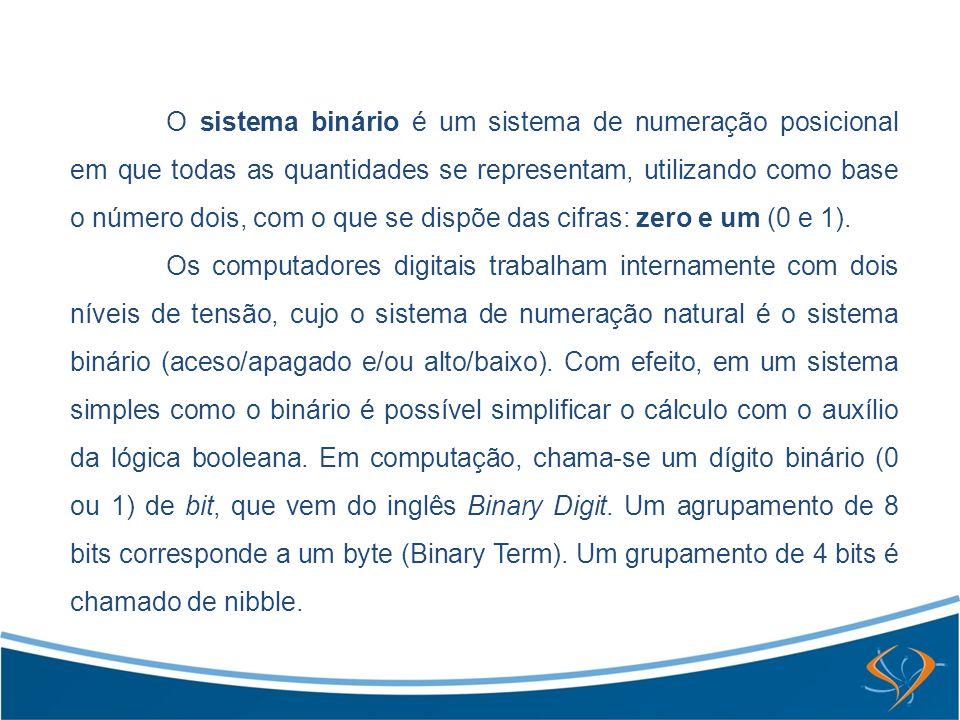 O sistema binário é um sistema de numeração posicional em que todas as quantidades se representam, utilizando como base o número dois, com o que se di
