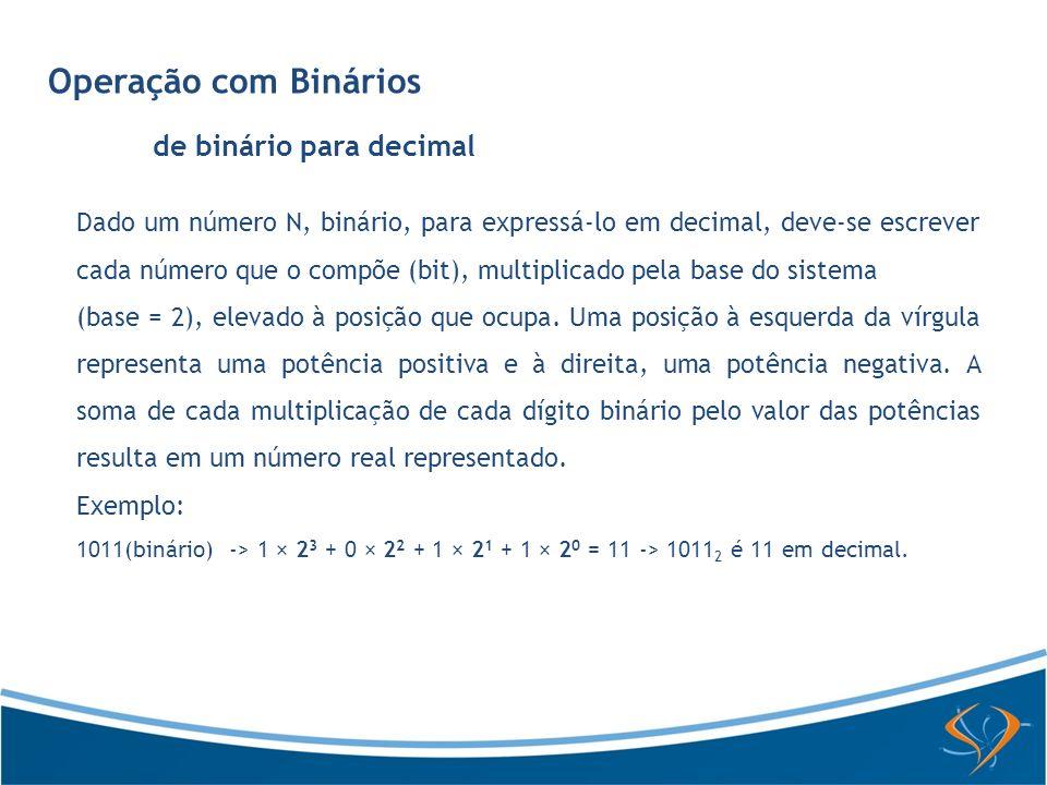 Operação com Binários de decimal para binário Dado um número decimal inteiro, para convertê-lo em binário, basta dividi- lo sucessivamente por 2, anotando o resto da divisão inteira: 12(dec) -> bin 12 / 2 = 6 + 0 06 / 2 = 3 + 0 03 / 2 = 1 + 1 01 / 2 = 0 + 1 12(dec) = 1100(bin) Observe que os números devem ser lidos de baixo para cima: 1100 é 12 em decimal.