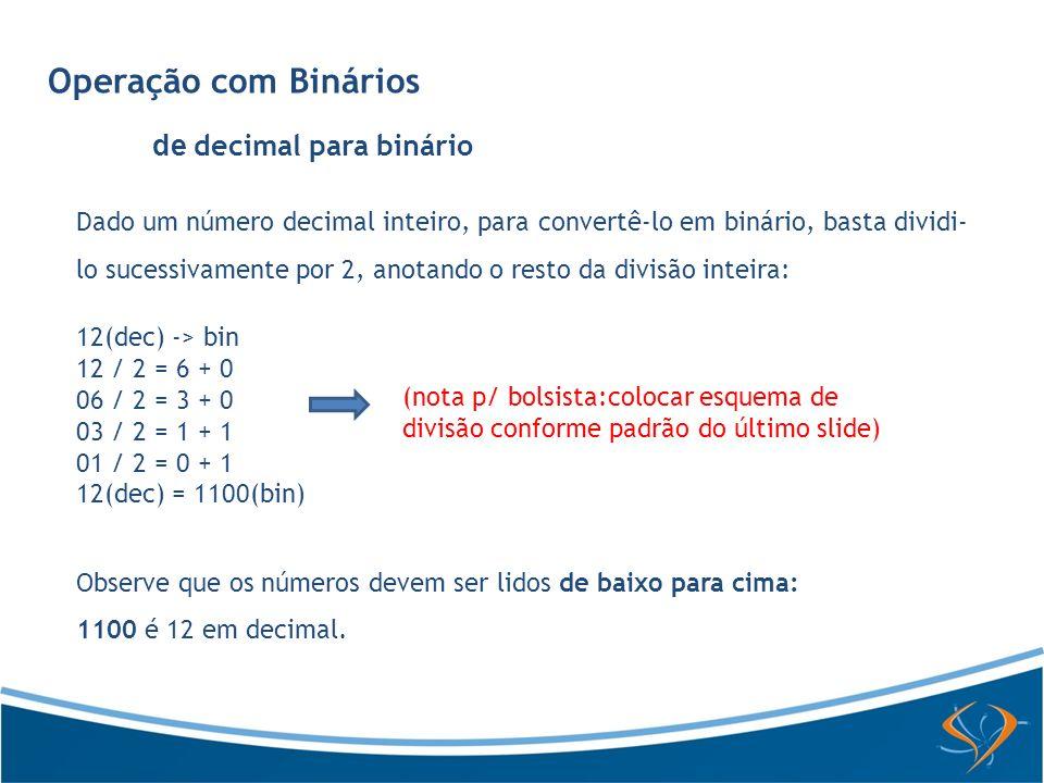 Operação com Binários de decimal para binário Dado um número decimal inteiro, para convertê-lo em binário, basta dividi- lo sucessivamente por 2, anot