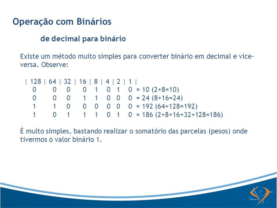 Operação com Binários Soma de Binários Para somar dois números binários, o procedimento é o seguinte: Exemplo 1: * 1100 + 111 -------- = 10011 Os números binários são base 2, ou seja, há apenas dois algarismos: 0 (zero) ou 1 (um).