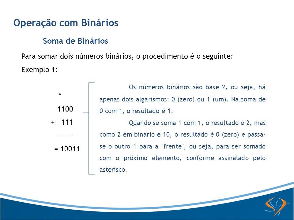 Operação com Binários Soma de Binários Para somar dois números binários, o procedimento é o seguinte: Exemplo 1: * 1100 + 111 -------- = 10011 Os núme