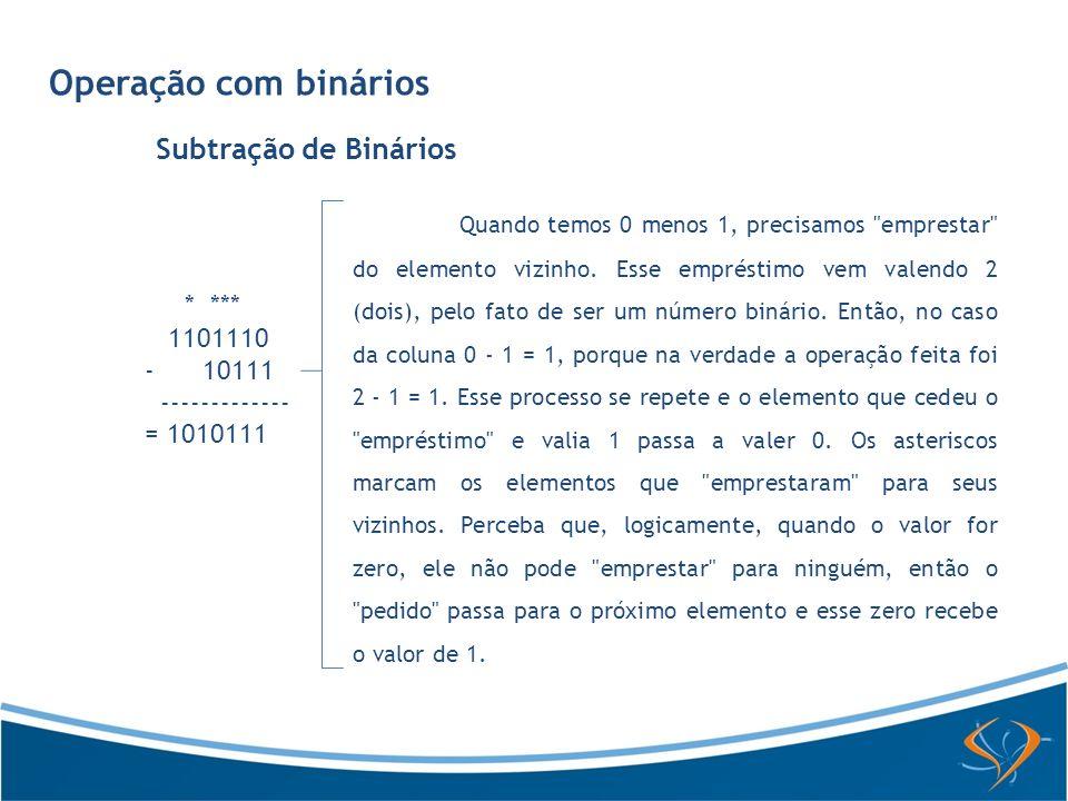 Operação com binários Subtração de Binários * *** 1101110 - 10111 ------------- = 1010111 Quando temos 0 menos 1, precisamos