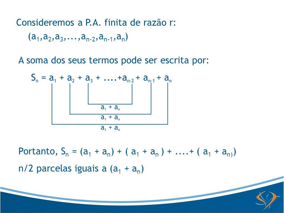 Portanto, S n = (a 1 + a n ) + ( a 1 + a n ) +....+ ( a 1 + a n) ) n/2 parcelas iguais a (a 1 + a n ) A soma dos seus termos pode ser escrita por: Con