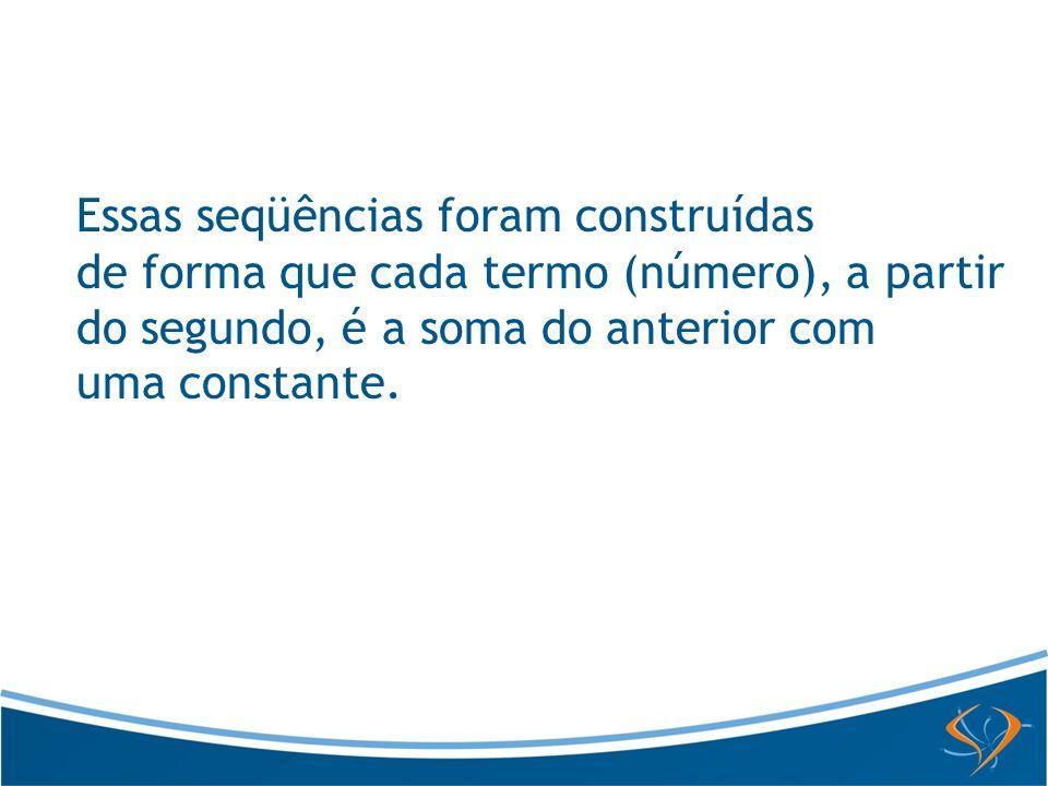 Observe a construção da primeira seqüência: Escolhemos um número para ser o primeiro termo da seqüência: 2 Adicionamos a ele um número qualquer e obtemos o segundo termo: Para obter os demais termos, vamos adicionando algebricamente sempre o mesmo valor ao número anterior: +2 +2 +2