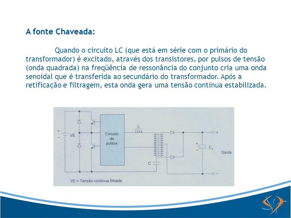 A fonte Chaveada: Quando o circuito LC (que está em série com o primário do transformador) é excitado, através dos transistores, por pulsos de tensão