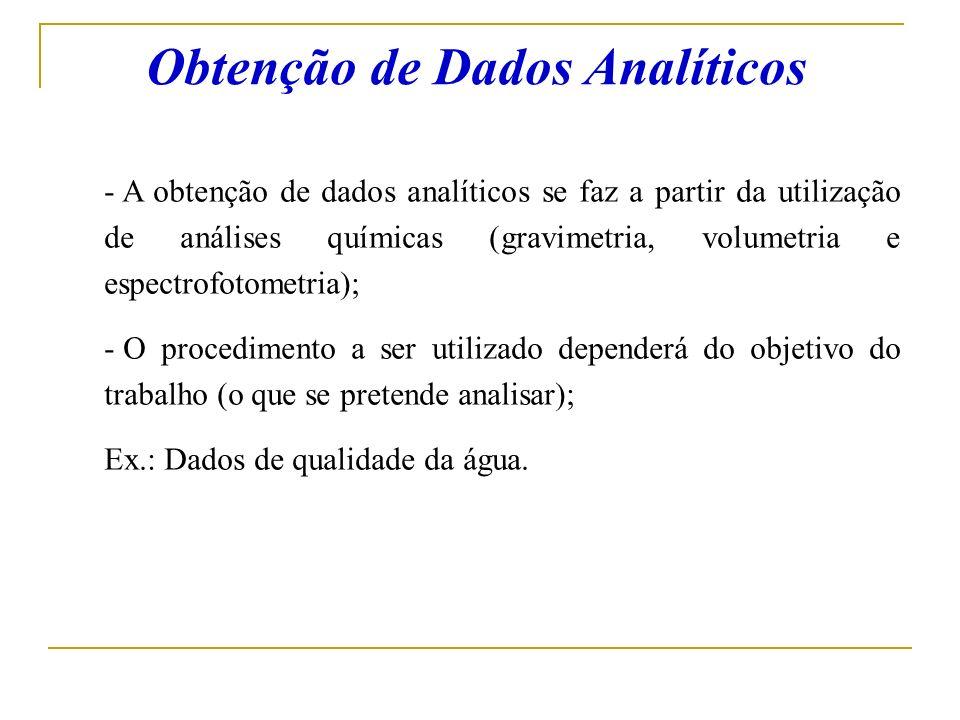 Obtenção de Dados Analíticos - A obtenção de dados analíticos se faz a partir da utilização de análises químicas (gravimetria, volumetria e espectrofo