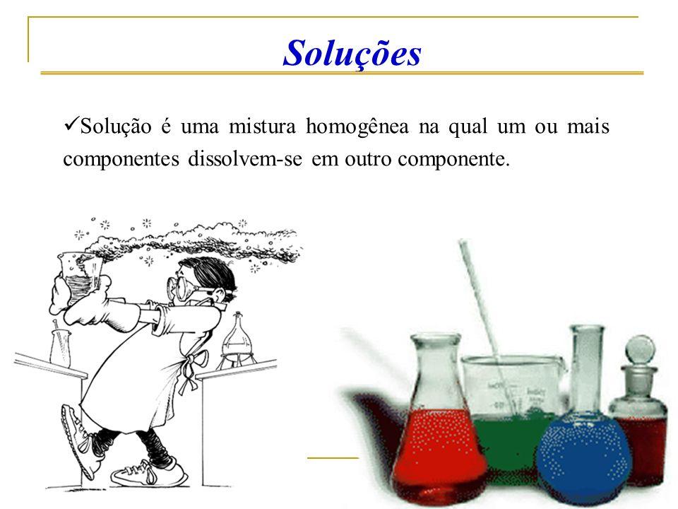 Solvente – é o componente da solução que tem capacidade de solver (desagregar) os demais componentes.