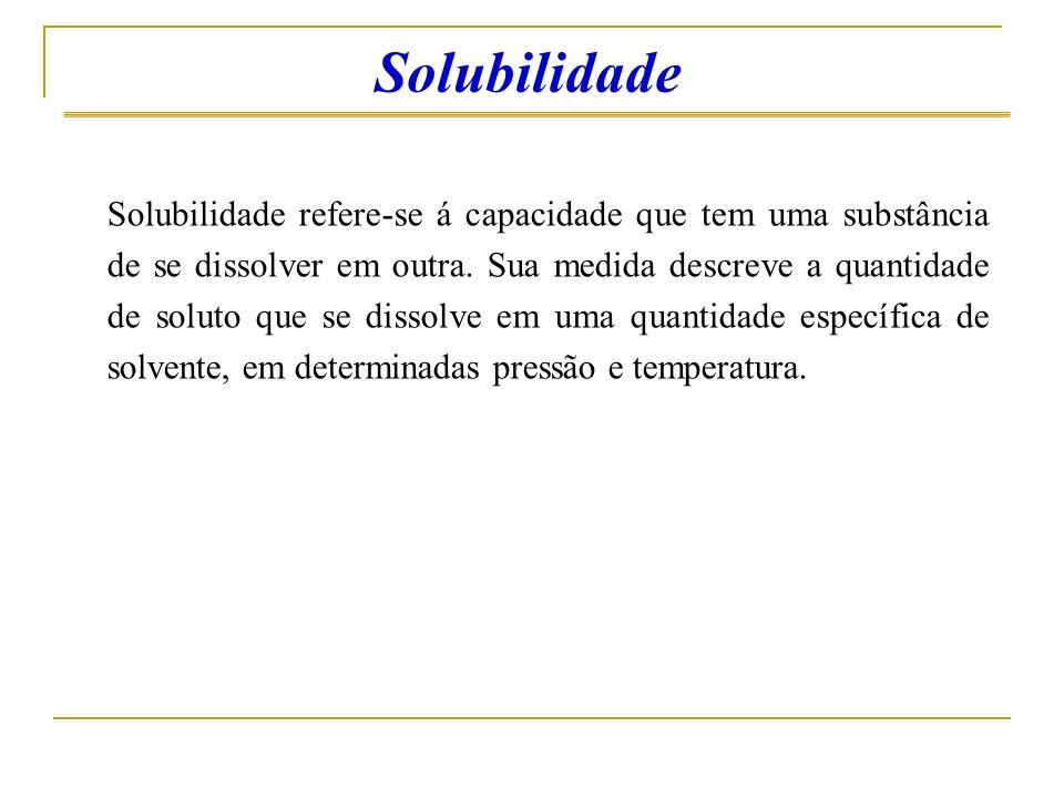 Solubilidade Solubilidade refere-se á capacidade que tem uma substância de se dissolver em outra. Sua medida descreve a quantidade de soluto que se di