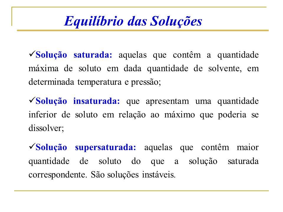 Solução saturada: aquelas que contêm a quantidade máxima de soluto em dada quantidade de solvente, em determinada temperatura e pressão; Solução insat