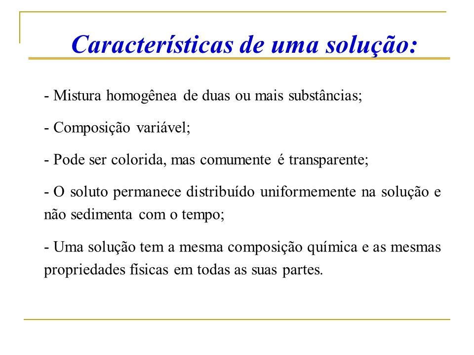 Características de uma solução: - Mistura homogênea de duas ou mais substâncias; - Composição variável; - Pode ser colorida, mas comumente é transpare