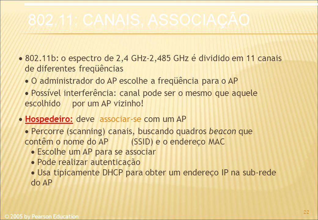 © 2005 by Pearson Education 802.11b: o espectro de 2,4 GHz-2,485 GHz é dividido em 11 canais de diferentes freqüências O administrador do AP escolhe a freqüência para o AP Possível interferência: canal pode ser o mesmo que aquele escolhido por um AP vizinho.