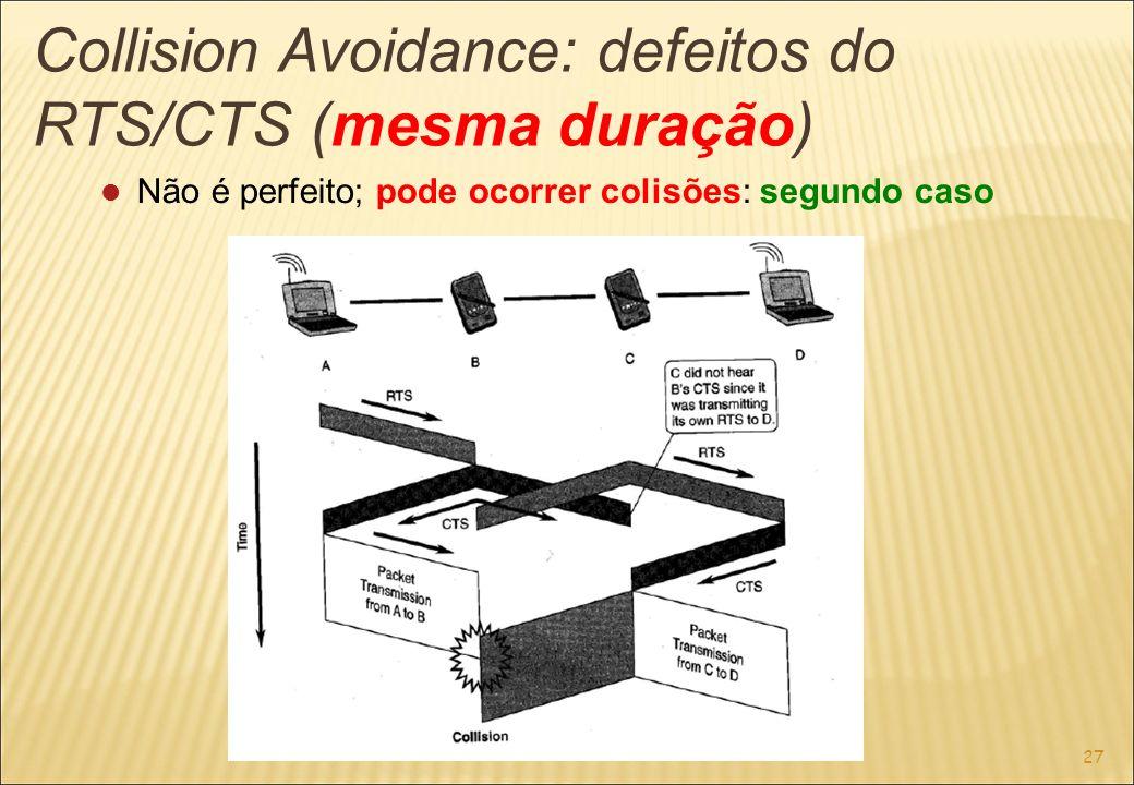 27 Collision Avoidance: defeitos do RTS/CTS (mesma duração) Não é perfeito; pode ocorrer colisões: segundo caso