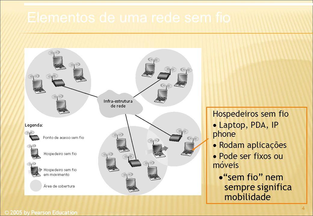 © 2005 by Pearson Education 4 Hospedeiros sem fio Laptop, PDA, IP phone Rodam aplicações Pode ser fixos ou móveis sem fio nem sempre significa mobilidade Elementos de uma rede sem fio
