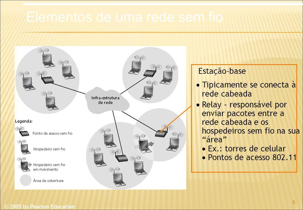 © 2005 by Pearson Education 5 Estação-base Tipicamente se conecta à rede cabeada Relay – responsável por enviar pacotes entre a rede cabeada e os hospedeiros sem fio na sua área Ex.: torres de celular Pontos de acesso 802.11 Elementos de uma rede sem fio