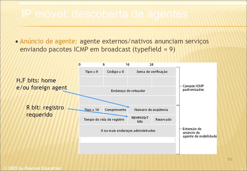 © 2005 by Pearson Education Anúncio de agente: agente externos/nativos anunciam serviços enviando pacotes ICMP em broadcast (typefield = 9) 56 R bit: registro requerido H,F bits: home e/ou foreign agent IP móvel: descoberta de agentes