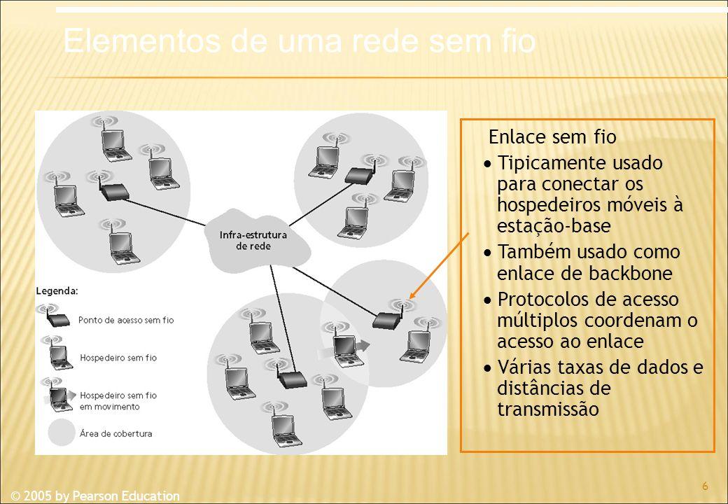 © 2005 by Pearson Education 6 Enlace sem fio Tipicamente usado para conectar os hospedeiros móveis à estação-base Também usado como enlace de backbone Protocolos de acesso múltiplos coordenam o acesso ao enlace Várias taxas de dados e distâncias de transmissão Elementos de uma rede sem fio