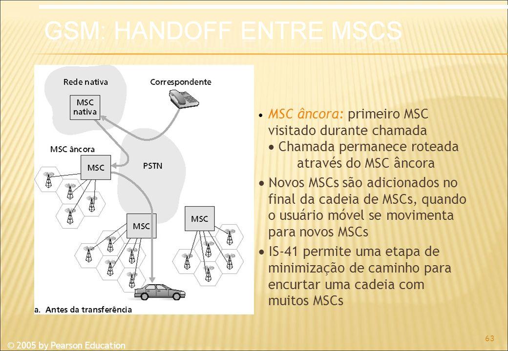 © 2005 by Pearson Education MSC âncora: primeiro MSC visitado durante chamada Chamada permanece roteada através do MSC âncora Novos MSCs são adicionados no final da cadeia de MSCs, quando o usuário móvel se movimenta para novos MSCs IS-41 permite uma etapa de minimização de caminho para encurtar uma cadeia com muitos MSCs 63