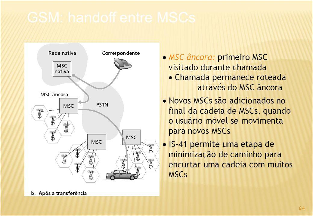 64 MSC âncora: primeiro MSC visitado durante chamada Chamada permanece roteada através do MSC âncora Novos MSCs são adicionados no final da cadeia de MSCs, quando o usuário móvel se movimenta para novos MSCs IS-41 permite uma etapa de minimização de caminho para encurtar uma cadeia com muitos MSCs GSM: handoff entre MSCs