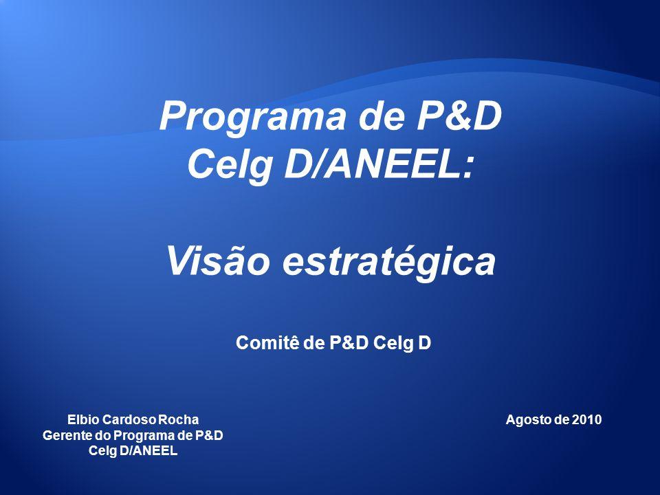 Programa de P&D Celg D/ANEEL: Visão estratégica Elbio Cardoso Rocha Gerente do Programa de P&D Celg D/ANEEL Agosto de 2010 Comitê de P&D Celg D
