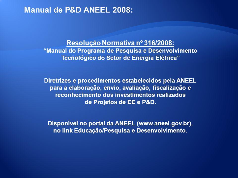 Manual de P&D ANEEL 2008: Resolução Normativa nº 316/2008: Manual do Programa de Pesquisa e Desenvolvimento Tecnológico do Setor de Energia Elétrica D