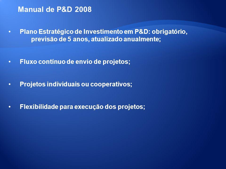 Plano Estratégico de Investimento em P&D: obrigatório, previsão de 5 anos, atualizado anualmente; Fluxo contínuo de envio de projetos; Projetos indivi