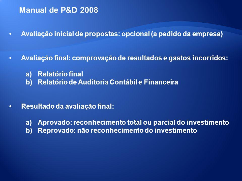 Avaliação inicial de propostas: opcional (a pedido da empresa) Avaliação final: comprovação de resultados e gastos incorridos: a)Relatório final b)Rel
