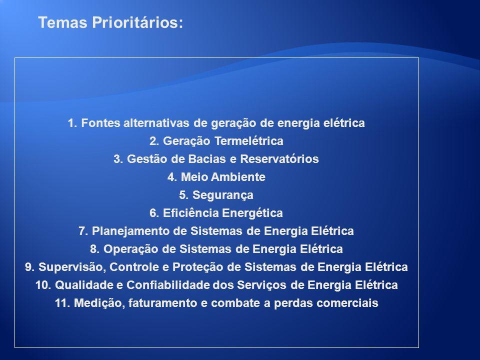 Temas Prioritários: 1. Fontes alternativas de geração de energia elétrica 2. Geração Termelétrica 3. Gestão de Bacias e Reservatórios 4. Meio Ambiente