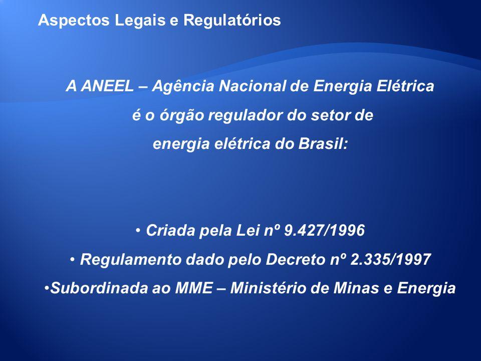 A ANEEL – Agência Nacional de Energia Elétrica é o órgão regulador do setor de energia elétrica do Brasil: Criada pela Lei nº 9.427/1996 Regulamento d