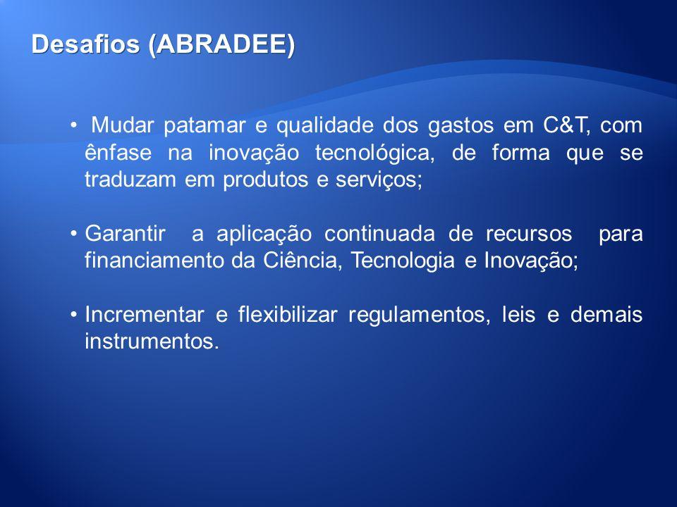 Desafios (ABRADEE) Mudar patamar e qualidade dos gastos em C&T, com ênfase na inovação tecnológica, de forma que se traduzam em produtos e serviços; G