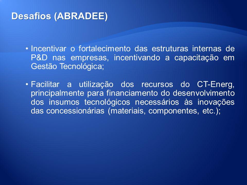 Desafios (ABRADEE) Incentivar o fortalecimento das estruturas internas de P&D nas empresas, incentivando a capacitação em Gestão Tecnológica; Facilita