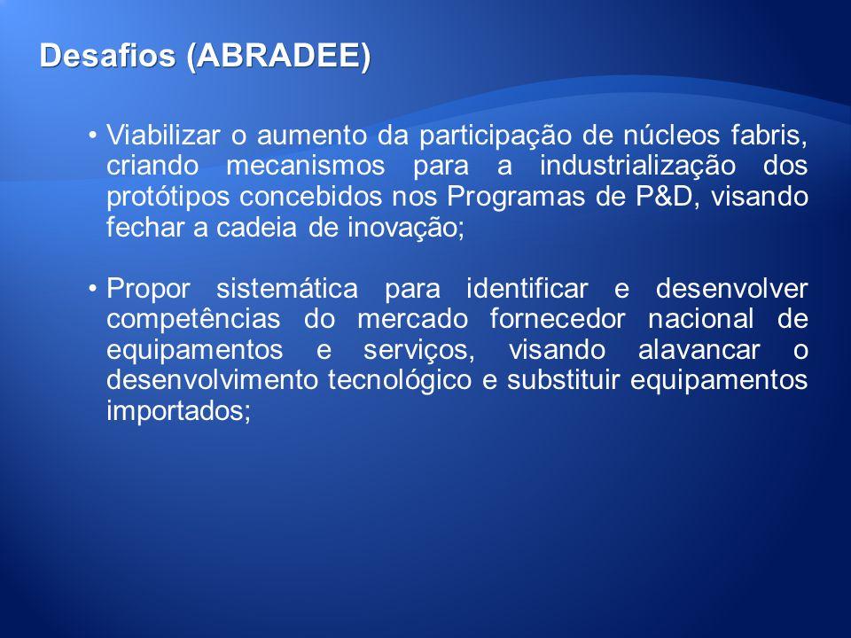 Desafios (ABRADEE) Viabilizar o aumento da participação de núcleos fabris, criando mecanismos para a industrialização dos protótipos concebidos nos Pr
