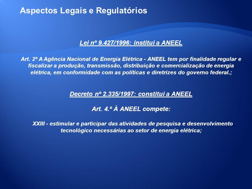 Lei nº 9.427/1996: institui a ANEEL Art. 2º A Agência Nacional de Energia Elétrica - ANEEL tem por finalidade regular e fiscalizar a produção, transmi