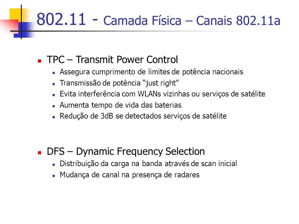 802.11 - Camada Física – Canais 802.11a TPC – Transmit Power Control Assegura cumprimento de limites de potência nacionais Transmissão de potência just right Evita interferência com WLANs vizinhas ou serviços de satélite Aumenta tempo de vida das baterias Redução de 3dB se detectados serviços de satélite DFS – Dynamic Frequency Selection Distribuição da carga na banda através de scan inicial Mudança de canal na presença de radares