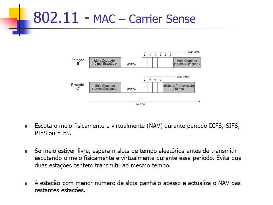 802.11 - MAC – Carrier Sense Escuta o meio fisicamente e virtualmente (NAV) durante período DIFS, SIFS, PIFS ou EIFS. Se meio estiver livre, espera n