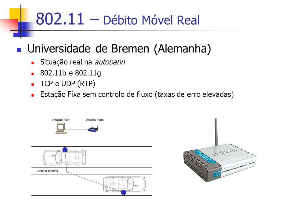 802.11 – Débito Móvel Real Universidade de Bremen (Alemanha) Situação real na autobahn 802.11b e 802.11g TCP e UDP (RTP) Estação Fixa sem controlo de fluxo (taxas de erro elevadas)
