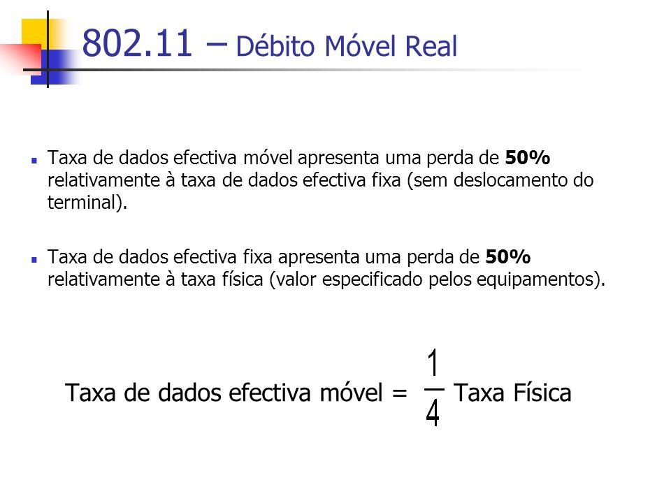 802.11 – Débito Móvel Real Taxa de dados efectiva móvel apresenta uma perda de 50% relativamente à taxa de dados efectiva fixa (sem deslocamento do terminal).
