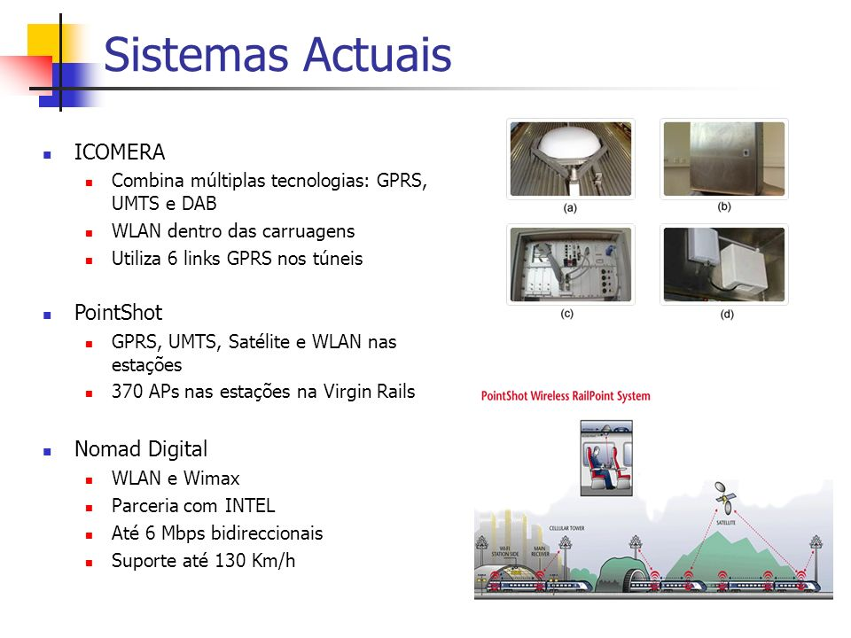 Sistemas Actuais ICOMERA Combina múltiplas tecnologias: GPRS, UMTS e DAB WLAN dentro das carruagens Utiliza 6 links GPRS nos túneis PointShot GPRS, UMTS, Satélite e WLAN nas estações 370 APs nas estações na Virgin Rails Nomad Digital WLAN e Wimax Parceria com INTEL Até 6 Mbps bidireccionais Suporte até 130 Km/h