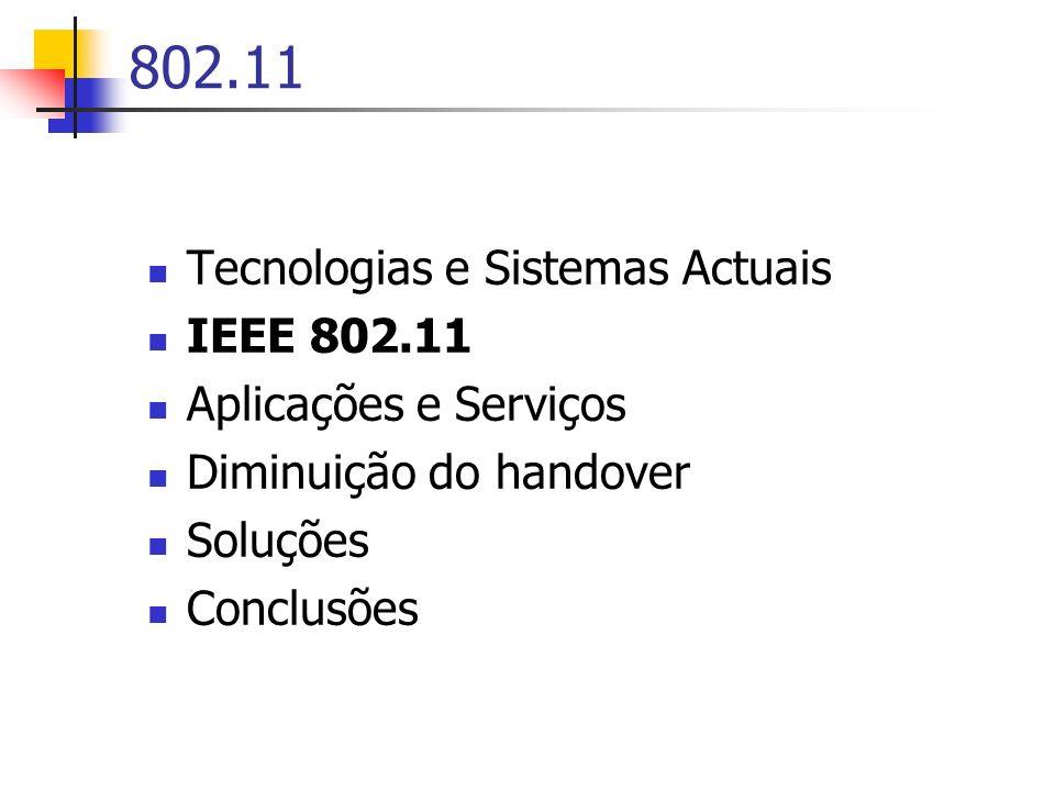 802.11 Tecnologias e Sistemas Actuais IEEE 802.11 Aplicações e Serviços Diminuição do handover Soluções Conclusões