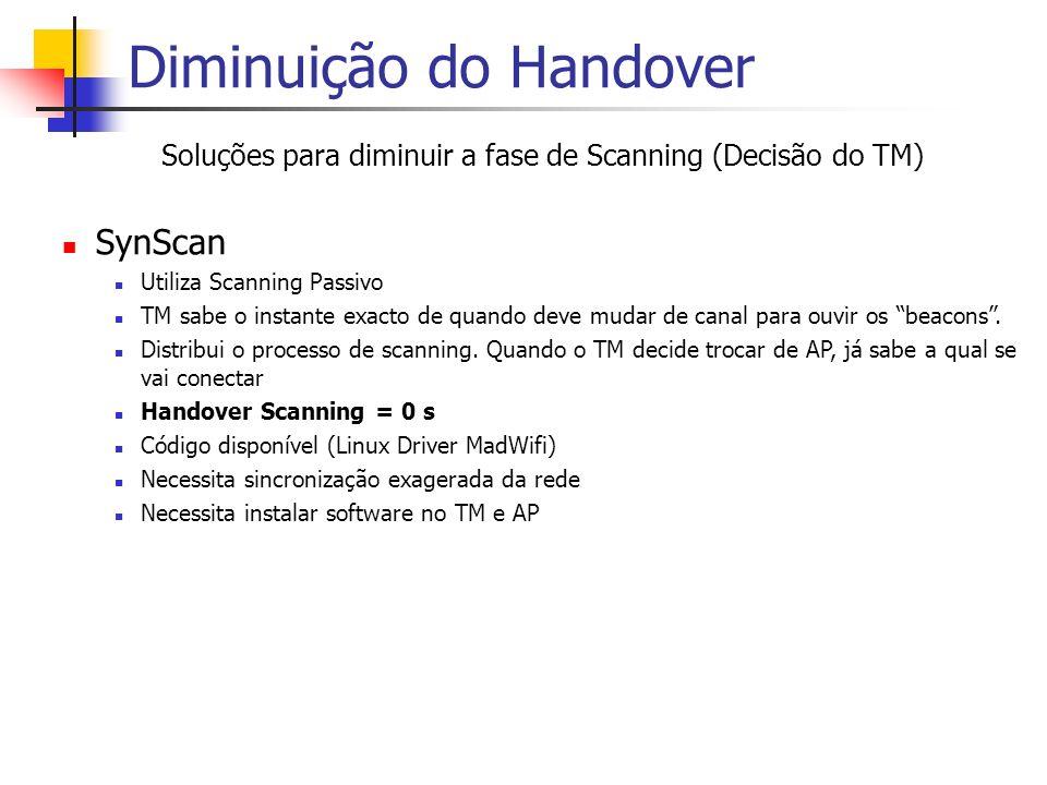 Diminuição do Handover Soluções para diminuir a fase de Scanning (Decisão do TM) SynScan Utiliza Scanning Passivo TM sabe o instante exacto de quando deve mudar de canal para ouvir os beacons.
