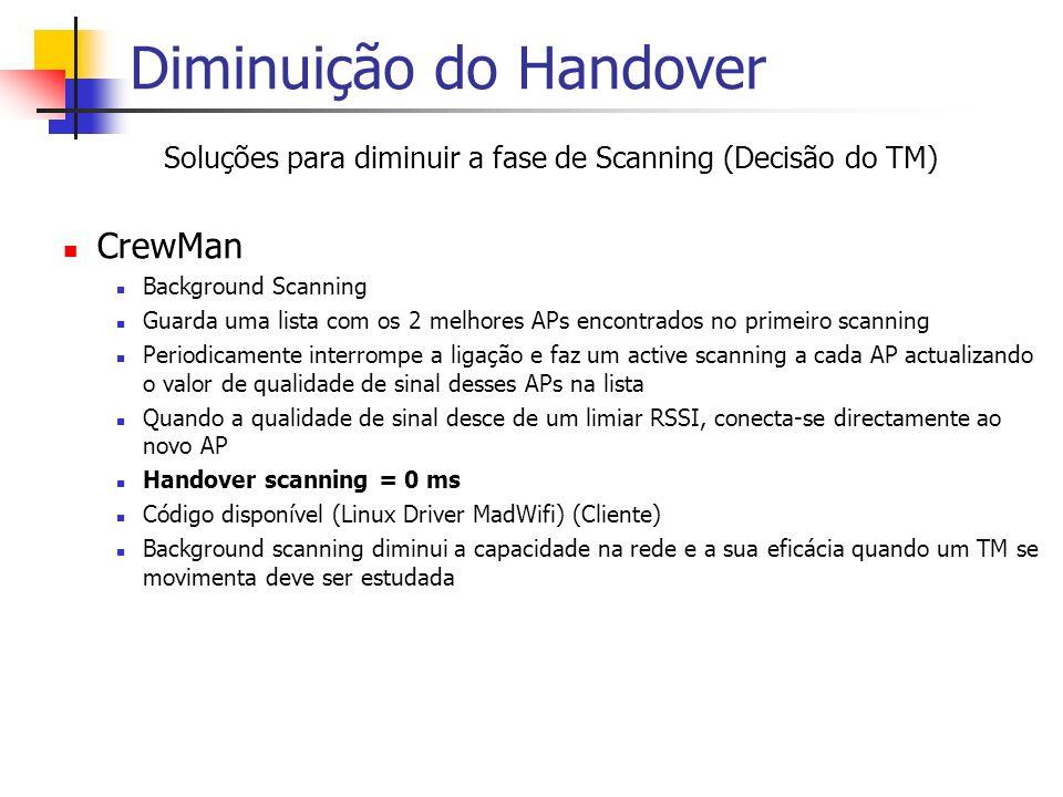 Diminuição do Handover Soluções para diminuir a fase de Scanning (Decisão do TM) CrewMan Background Scanning Guarda uma lista com os 2 melhores APs en