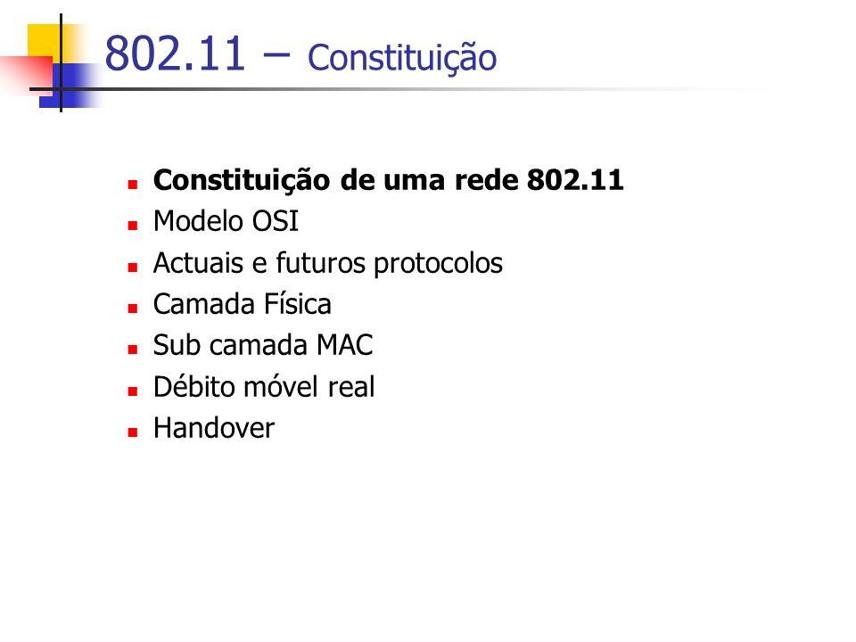 802.11 – Constituição Constituição de uma rede 802.11 Modelo OSI Actuais e futuros protocolos Camada Física Sub camada MAC Débito móvel real Handover