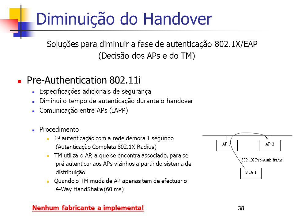 Diminuição do Handover Soluções para diminuir a fase de autenticação 802.1X/EAP (Decisão dos APs e do TM) Pre-Authentication 802.11i Especificações adicionais de segurança Diminui o tempo de autenticação durante o handover Comunicação entre APs (IAPP) Procedimento 1ª autenticação com a rede demora 1 segundo (Autenticação Completa 802.1X Radius) TM utiliza o AP, a que se encontra associado, para se pré autenticar aos APs vizinhos a partir do sistema de distribuição Quando o TM muda de AP apenas tem de efectuar o 4-Way HandShake (60 ms) Nenhum fabricante a implementa.